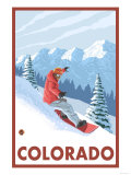 Snowboarder Scene - Colorado Art by  Lantern Press