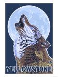 Yellowstone - Howling Wolf Art by  Lantern Press