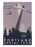 Portland, Oregon - Aerial Tram Scene Prints by  Lantern Press