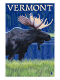 Vermont - Moose in the Moonlight Prints by  Lantern Press