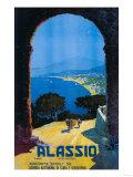 Alassio, Italia, läntisen Italian Rivieran matkailujuliste Taide tekijänä  Lantern Press