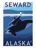 Seward, Alaska - Orca and Calf Scene Prints by  Lantern Press