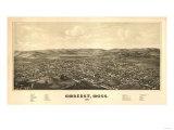 Amherst, Massachusetts - Panoramic Map Art