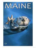 Maine - Sea Otter Scene Prints by  Lantern Press
