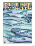 Seattle, Washington - Fish on Ice at Pike Place Market Prints by  Lantern Press