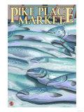Seattle, Washington - Fish on Ice at Pike Place Market Prints