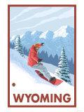Snowboarder Scene - Wyoming Prints by  Lantern Press