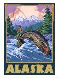Alaska - Fly Fishing Scene Prints by  Lantern Press