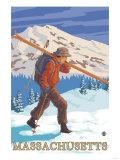 Massachusetts - Skier Carrying Skis Affischer av  Lantern Press