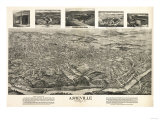 Asheville, North Carolina - Panoramic Map Art