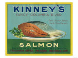 Astoria, Oregon - Kinney's Salmon Case Label Art