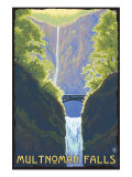 Multnomah Falls, Oregon - Maiden of the Falls Prints by  Lantern Press