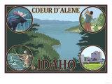 Coeur D'Alene, Idaho - Scenic Travel Poster Prints by  Lantern Press