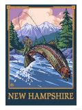 New Hampshire - Angler Fisherman Scene Prints by  Lantern Press