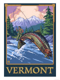 Vermont - Angler Fisherman Scene Prints by  Lantern Press