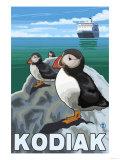 Kodiak, Alaska - Puffins and Alaskan Cruise Ship Prints by  Lantern Press