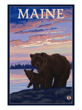 Maine - Bear and Cub Prints by  Lantern Press