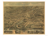 Akron, Ohio - Panoramic Map - Akron, OH Prints by  Lantern Press
