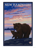 New Hampshire - Bear and Cub Art by  Lantern Press