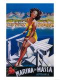 Apuania, Italy - Massa Marina Travel Poster Kunstdrucke von  Lantern Press
