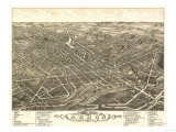 Akron, Ohio - Panoramic Map No. 2 - Akron, OH Prints by  Lantern Press