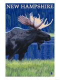 New Hampshire - Moose in the Moonlight Prints by  Lantern Press