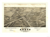 Akron, Ohio - Panoramic Map No. 1 - Akron, OH Prints by  Lantern Press