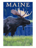 Maine - Moose in the Moonlight Prints by  Lantern Press