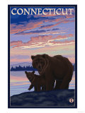 Connecticut - Bear and Cub Prints by  Lantern Press