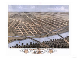Attica, Indiana - Panoramic Map Reprodukcje autor Lantern Press