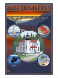 Whidbey Island, Washington - Scenic Travel Poster Art by  Lantern Press