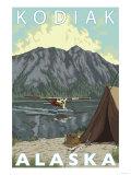 Kodiak, Alaska - Bush Plane Fishing Art by  Lantern Press