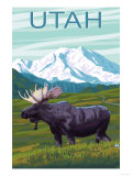 Moose with Mountain - Utah Art by  Lantern Press