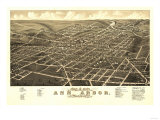 Ann Arbor, Michigan - Panoramic Map Prints