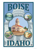 Boise, Idaho - Scenic Travel Poster Prints by  Lantern Press