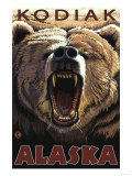 Kodiak, Alaska - Bear Roaring Prints by  Lantern Press