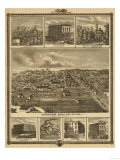 Atlantic, Iowa - Panoramic Map Prints by  Lantern Press