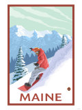 Maine - Snowboarder Scene Prints by  Lantern Press