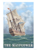 Plymouth, Massachusetts - View of the Mayflower Prints by  Lantern Press