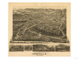 Asheville, North Carolina - Panoramic Map Prints by  Lantern Press