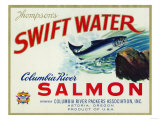 Astoria, Oregon - Thompson&#39;s Swift Water Salmon Label Prints