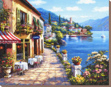 Overlook Cafe I Stretched Canvas Print by Sung Kim
