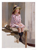 Portrait of a Young Girl in a Pink Dress and a Straw Hat Giclee Print by Harry Watson