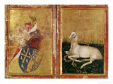 Coat of Arms and White Hart, from The Wilton Diptych, c.1395-99 Giclee Print by  Master of the Wilton Diptych
