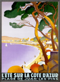 L'Ete sur la Cote d'azur Framed Canvas Print by Roger Broders