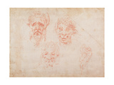 Sketches of Satyrs&#39; Faces Giclee Print by Michelangelo Buonarroti 