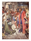 The Good King Was to Be Seen Giving Food and Drink, The Story of France, 1920 Giclee Print by William Rainey