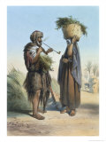 Fellah Man and Woman, The Valley of the Nile, Engraved Mouilleron, Pub. Lemercier, 1848 Giclee Print by Achille-Constant-Théodore-Émile Prisse d'Avennes