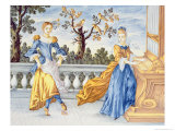 Two Young Women, One Playing the Organ and One Dancing, 1630 Giclee Print by Pietro Paolo Mancini