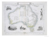 Australia, from a Series of World Maps, c.1850 Giclee Print by John Rapkin